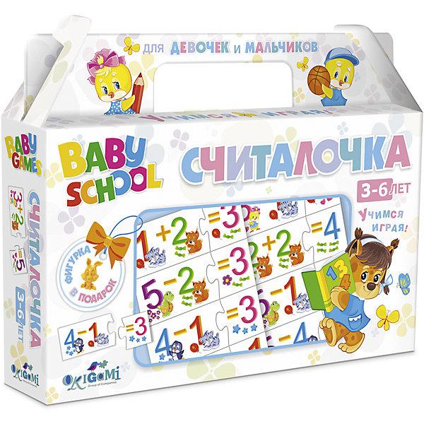 Для Малышей.Наст.игра.Чем.+фигурка.Считалочка.03065Пособия для обучения счёту<br>Характеристики товара:<br><br>• возраст: от 3 лет; <br>• пол: для мальчиков и девочек;<br>• размер упаковки: 22x17x4 см.;<br>• вес: 175 гр.;<br>• из чего сделана игрушка (состав): картон;<br>• комплект: 32 карточки, фигурка;<br>• упаковка: картонный чемоданчик;<br>• страна обладатель бренда: Россия.<br><br>Настольная игра «Считалочка» поможет ребенку весело провести время в одиночку или в компании родителей. <br><br>Процесс игры познакомит ребенка с азами арифметики. <br><br>В набор входят 32 картинки с изображением математических заданий и ответов на них. Пазловые замочки не дадут совершить ошибку: неподходящие друг к другу элементы просто не состыкуются.<br><br>На каждой карточке нарисован веселый зверек или предмет, визуально показывающий значение того или иного числа. В комплекте специальная игрушка-сюрприз.<br><br>Настольную игру можно купить в нашем интернет-магазине.<br><br>Ширина мм: 220<br>Глубина мм: 170<br>Высота мм: 40<br>Вес г: 175<br>Возраст от месяцев: 36<br>Возраст до месяцев: 2147483647<br>Пол: Унисекс<br>Возраст: Детский<br>SKU: 7240716