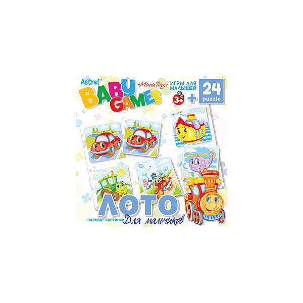 Для Малышей.Наст.игра.Лото+пазл.24Эл.Для мальчиков.6308Лото<br>Характеристики товара:<br><br>• возраст: от 3 лет;         <br>• пол: для мальчиков и девочек;<br>• размер упаковки: 18x5x18 см.;<br>• вес: 184 гр.;<br>• комплект: правила игры, игровое поле, 6 карточек с животными, кубик и фишки;<br>• из чего сделана игрушка (состав): картон;<br>• количество деталей 24 шт.;<br>• количество предполагаемых игроков: 2-4;<br>• время игры: 30 минут;<br>• страна обладатель бренда: Россия.<br><br>Настольная игра лото очень увлекательна. Она предназначена для 2-4 игроков. <br><br>В процессе игры необходимо находить подходящие карточки доисторических животных и перемещаясь по игровому полю раскладывать на соответствующие места. <br><br>Настольную игру лото можно купить в нашем интернет-магазине.<br>Ширина мм: 180; Глубина мм: 50; Высота мм: 180; Вес г: 184; Возраст от месяцев: 36; Возраст до месяцев: 2147483647; Пол: Унисекс; Возраст: Детский; SKU: 7240722;