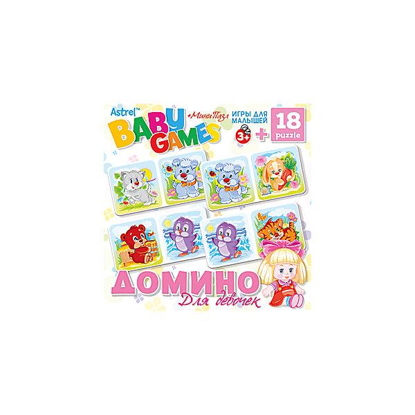 Купить Настольная игра Origami Домино+пазл, 18 деталей, для девочек, Россия, Унисекс