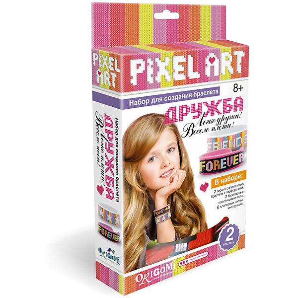 К.PixelArt™ Набор для создания браслетов Дружба в коробке, 2 браслета.  Арт. 02434Наборы стилиста и дизайнера<br>Новинки в коллекции браслетов - модные силиконовые браслеты для вышивания Pixel Art. Украсьте свой браслет: придумайте узор и вышейте его безопасной пластиковой иглой! Подробная инструкция с алфавитом и графическими элементами поможет вам сделать браслет уникальным: вышивайте свое имя, имя друга или модный узор! В ассортименте 3 набора в комплекте с 2-мя разноцветными браслетами. Рекомендованный возраст: 8+<br>Ширина мм: 120; Глубина мм: 35; Высота мм: 210; Вес г: 150; Возраст от месяцев: 96; Возраст до месяцев: 2147483647; Пол: Унисекс; Возраст: Детский; SKU: 7240741;