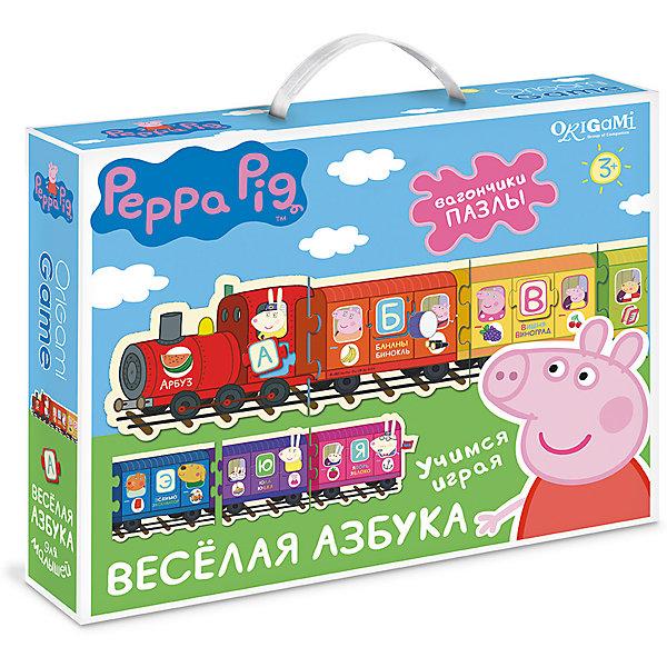 Настольная игра+пазл Origami Свинка Пеппа Веселая азбукаАзбуки<br>Характеристики товара:<br><br>• возраст: от 3 лет;<br>• герой: Свинка Пеппа;<br>• пол: для мальчиков и девочек;<br>• время игры: 10-15 минут;<br>• комплект:  66 карточек с пазловым замком;<br>• количество предполагаемых игроков: 1-4;<br>• из чего сделана игрушка (состав): картон;<br>• размер упаковки: 28x23x6 см.;<br>• упаковка: картонная коробка;<br>• страна обладатель бренда: Россия.<br><br>Обучающая настольная игра «Веселая азбука» от производителя Origami поможет детям в игровой форме запомнить буквы алфавита. <br><br>Игрокам необходимо собрать в правильном порядке пазлы в виде вагонов с изображением героев мультфильма Свинка Пеппа. <br><br>Благодаря обучающему набору  дети смогут расширить кругозор и развить логическое мышление.<br><br>Настольную игру «Веселая азбука» можно купить в нашем интернет-магазине.<br>Ширина мм: 280; Глубина мм: 230; Высота мм: 60; Вес г: 500; Возраст от месяцев: 36; Возраст до месяцев: 2147483647; Пол: Унисекс; Возраст: Детский; SKU: 7240752;