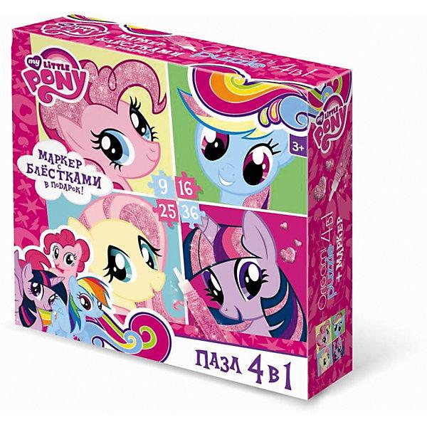 Пони.Пазл.Набор.4в1.9-16-25-36Эл.+маркер с блестками.Любимые герои.02103My little Pony<br>Характеристики товара:<br><br>• возраст: от 3 лет;<br>• пол: для девочек;<br>• размер упаковки: 18x5x18 см.;<br>• вес: 165 гр.;<br>• количество элементов: 9, 16, 25, 36 шт.;<br>• размер собранной картинки: 15х15 см.;<br>• комплект: 4 пазла;<br>• из чего сделана игрушка (состав): бумага, картон;<br>• упаковка: картонная коробка;<br>• страна обладатель бренда: Россия.<br><br>Набор представляет собой пазл 4 в 1 на 9, 16, 25, 36 элемента с маленькими пони.<br><br>В процессе игры необходимо собрать красочные картинки с героями мультфильма мой маленикий пони. <br><br>Правила игры: вскрыть упаковку и собрать игру по картинке.<br><br>Пазл можно купить в нашем интернет-магазине.<br>Ширина мм: 180; Глубина мм: 50; Высота мм: 180; Вес г: 165; Возраст от месяцев: 36; Возраст до месяцев: 2147483647; Пол: Унисекс; Возраст: Детский; SKU: 7240757;