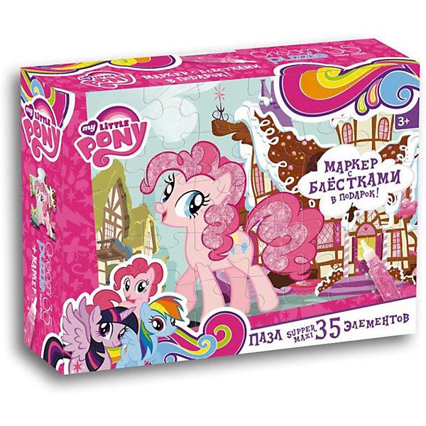 Пони.Пазл.35 гиг.+маркер с блестками.Пряничный дом Пинки Пай.02109My little Pony<br>Характеристики товара:<br><br>• возраст: от 3 лет; <br>• пол: для девочек;<br>• герой: мои маленикие пони;<br>• размер упаковки: 23x5x18 см.;<br>• вес: 250 гр.;<br>• размер собранного пала: 47х33 см.;<br>• количество деталей: 35 шт.;<br>• комплект: элементы пазла, маркер с блестками;<br>• из чего сделана игрушка (состав): картон, бумага, пластик, краситель;<br>• упаковка: картонная коробка;<br>• страна обладатель бренда: Россия.<br><br>Пазл Супер-макси из 35 элементов это прекрасный подарок для маленькой принцессы.<br><br>Элементы головоломки крупные и прочные, поэтому с ними удобно обращаться даже малышам. <br><br>В комплекте также находится маркер с блестками, который пригодится для украшения гривы и крылышек застенчивой пони.<br><br>Пазл можно купить в нашем интернет-магазине.<br>Ширина мм: 230; Глубина мм: 50; Высота мм: 180; Вес г: 250; Возраст от месяцев: 36; Возраст до месяцев: 2147483647; Пол: Унисекс; Возраст: Детский; SKU: 7240761;