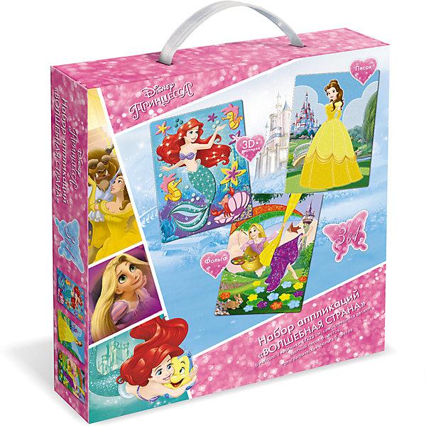 Чудо-Тв. Disney Princess™. Набор аппликаций 3в1 Волшебная страна, песок, фольга, EVA; в короб. Арт. 03197Бумага<br>Аппликации 3в1 из фольги, песка и ЭВЫ развивают мелкую моторику и творческое воображение, в игровой форме помогают изучить цвета и формы. Аппликации отличают высокое качество исполнения, прекрасное наполнение. В коллекцию входит текстурные аппликации из цветного песка, мерцающие аппликации из фольги, фигурные аппликации-игрушки с изображением любимых героев. Без клея и ножниц, легко и просто укрась свою картинку! Рекомендованный возраст: 4+. В наборе: 3 картинки 17*23 см, самоклеящиеся детали, цветной песок 6шт, голографическая фольга 5 цветов. Изготовлено из картона, полимерных материалов. Упаковка: подарочная коробка с пластмассовой ручкой.  Три фигурки в подарок!<br><br>Ширина мм: 250<br>Глубина мм: 228<br>Высота мм: 46<br>Вес г: 200<br>Возраст от месяцев: 36<br>Возраст до месяцев: 2147483647<br>Пол: Унисекс<br>Возраст: Детский<br>SKU: 7240770