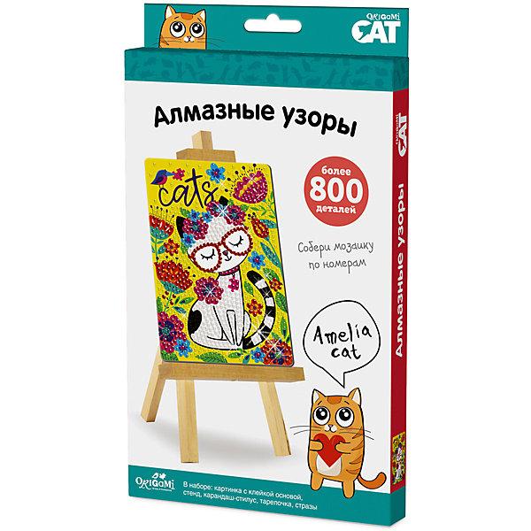 Origami Cat, Мозаика-алмазные узоры Amelia Cat арт. 03209Мозаика детская<br>Коллекция ORIGAMI CAT очень понравится любителям котиков и кошечек. Приглашаем их совершить блестящее путешествие в мир алмазной мозаики. Сделать настоящую роскошь своими руками очень просто. Необходимо снять защитный слой с клеевой основы, и с помощью карандаша – стилуса приклеить стразы по номеру и цвету. Готовую картинку можно поставить на мольберт, который входит в набор. Блестящий результат восхищает всех! <br>В наборе: картинка с клеевой основой, набор цветных стразов, стилус-карандаш, тарелочка, мольберт.<br>Ширина мм: 146; Глубина мм: 19; Высота мм: 235; Вес г: 150; Возраст от месяцев: 72; Возраст до месяцев: 2147483647; Пол: Унисекс; Возраст: Детский; SKU: 7240773;
