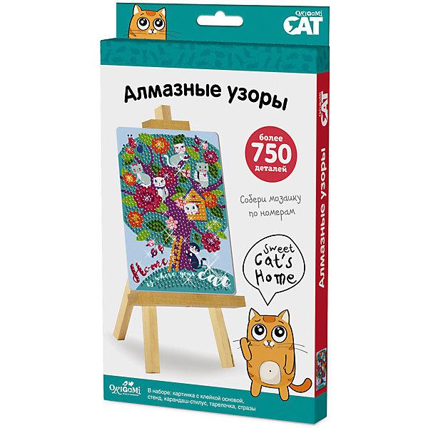 Чудо-тв.™ Мозаика-алмазные узоры Sweet cat's home арт. 03213Мозаика детская<br>Коллекция ORIGAMI CAT очень понравится любителям котиков и кошечек. Приглашаем их совершить блестящее путешествие в мир алмазной мозаики. Сделать настоящую роскошь своими руками очень просто. Необходимо снять защитный слой с клеевой основы, и с помощью карандаша – стилуса приклеить стразы по номеру и цвету. Готовую картинку можно поставить на мольберт, который входит в набор. Блестящий результат восхищает всех! <br>В наборе: картинка с клеевой основой, набор цветных стразов, стилус-карандаш, тарелочка, мольберт.<br><br>Ширина мм: 146<br>Глубина мм: 19<br>Высота мм: 235<br>Вес г: 150<br>Возраст от месяцев: 72<br>Возраст до месяцев: 2147483647<br>Пол: Унисекс<br>Возраст: Детский<br>SKU: 7240775