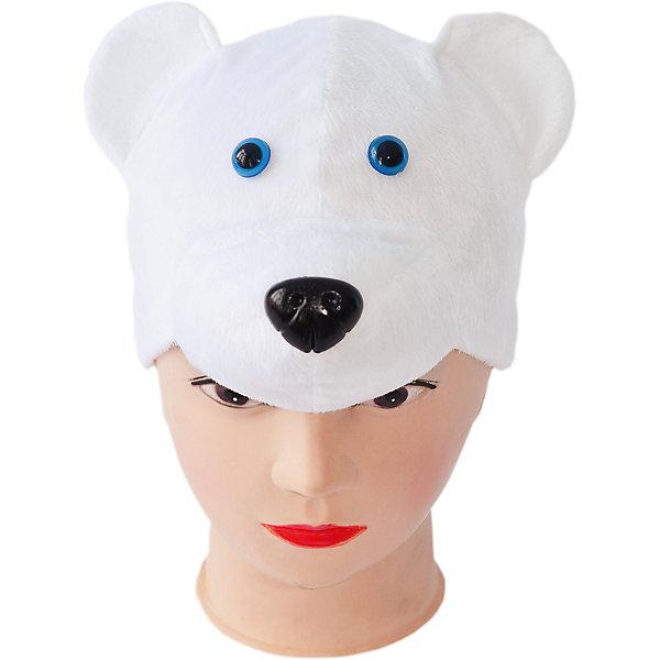 Маска Медведь белыйДетские шляпы и колпаки<br>Характеристики товара:<br><br>• возраст: от 3 лет;<br>• материал: полиэстер, хлопок;<br>• размер упаковки: 35х8х45 см;<br>• страна бренда: Россия;<br>• страна производства: Россия.<br><br>Карнавальная маска выполнена в виде мордочки белого медведя с невероятно милыми синими глазками и черным носом. Изделие выполнено из качественного плюша и дополнено подкладкой из хлопка, чтобы кожа ребенка дышала во время ношения маски. Данная маска-шапка прекрасно подойдет для карнавала, утренника или спектакля. Ее можно использовать как основной костюм или как дополнение к костюму белого медведя.<br><br>Маску «Медведь белый», Пуговка можно купить в нашем интернет-магазине.<br>Ширина мм: 450; Глубина мм: 80; Высота мм: 350; Вес г: 150; Возраст от месяцев: 36; Возраст до месяцев: 72; Пол: Унисекс; Возраст: Детский; SKU: 7241021;