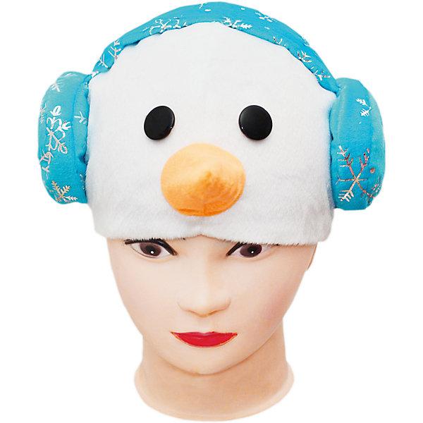 Маска СнеговикДетские шляпы и колпаки<br>Характеристики товара:<br><br>• возраст: от 3 лет;<br>• материал: полиэстер, хлопок;<br>• размер упаковки: 35х8х45 см;<br>• страна бренда: Россия;<br>• страна производства: Россия.<br><br>Карнавальная маска «Снеговик» станет отличным дополнением или главным элементом к костюму снеговика. Маска по типу шапки выполнена в виде головы снеговика с носом-морковкой, черными глазами и стильными голубыми наушниками. Изделие выполнено из плюша. Подкладка из хлопка обеспечивает правильную циркуляцию воздуха.<br><br>Маску «Снеговик», Пуговка можно купить в нашем интернет-магазине.<br>Ширина мм: 450; Глубина мм: 80; Высота мм: 350; Вес г: 150; Возраст от месяцев: 36; Возраст до месяцев: 72; Пол: Унисекс; Возраст: Детский; SKU: 7241022;