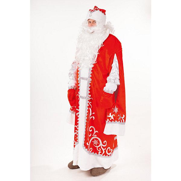 Карнавальный костюм Дед Мороз Премиум ( шуба, шапка, парик, борода, мешок, варежки)  размер 182-54-56