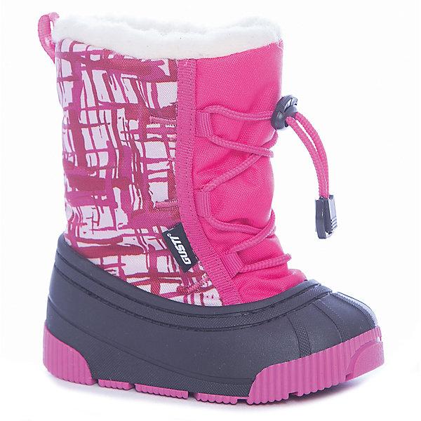 Сноубутсы Gusti для девочкиСноубутсы<br>Характеристики товара:<br><br>• цвет: розовый<br>• внешний материал: текстиль, полимер<br>• внутренний материал: натуральная шерсть, полиэстер<br>• стелька: натуральная шерсть, полиэстер<br>• подошва: ТПР<br>• сезон: демисезон<br>• температурный режим: от -30 до -5<br>• застежка: утяжка, шнурки<br>• анатомические <br>• подошва не скользит<br>• защита мыса<br>• страна бренда: Канада<br>• страна изготовитель: Китай<br><br>Практичные детские сноубутсы от Gusti имеют непромокаемую устойчивую подошву. Сноубутсы для девочки декорированы принтом. Материал, из которого сделаны детские сноубутсы, прочный и износостойкий. <br><br>Сноубутсы Gusti (Густи) для девочки можно купить в нашем интернет-магазине.<br>Ширина мм: 257; Глубина мм: 180; Высота мм: 130; Вес г: 420; Цвет: розовый; Возраст от месяцев: 18; Возраст до месяцев: 21; Пол: Женский; Возраст: Детский; Размер: 22/23,24/25,20/21; SKU: 7242329;