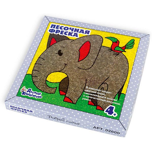 Набор для творчества. Песочная фреска Добрый слоник (рамка из вспененного полимера)Картины из песка<br>«Добрый слоник» - набор для детского творчества, который позволит Вашему ребенку от 4-х лет создать яркую и оригинальную картину. Интересная техника «засыпки» фрески цветным песком сделает творческий процесс увлекательным и веселым, научит малыша аккуратности и вниманию, способствует развитию мелкой моторики. Входящая в набор рамка из кашированного изолона, толщиной 2 мм, придаст законченный вид картине. Готовая работа может стать замечательным подарком, сделанным своими руками.<br>Состав цветной песочной фрески для детей «Добрый слоник»:<br>1. Подложка на самоклеящейся основе с напечатанным рисунком 20х20 см.<br>2. Заготовка для рамки (кашированный изолон 2 мм).<br>3. Цветной песок:<br>- черный – 10 г; <br>- светло-серый – 20 г; <br>- темно-серый – 10 г; <br>- розовый – 10 г; <br>- светло-зеленый – 10 г.<br>- светло-желтый – 20 г.<br>Внимание! <br>1. Использовать набор только под непосредственным наблюдением взрослых.<br>2. Последовательность и техника работы с песком подробно описана в инструкции.<br>Ширина мм: 215; Глубина мм: 215; Высота мм: 25; Вес г: 166; Возраст от месяцев: 48; Возраст до месяцев: 2147483647; Пол: Унисекс; Возраст: Детский; SKU: 7245629;