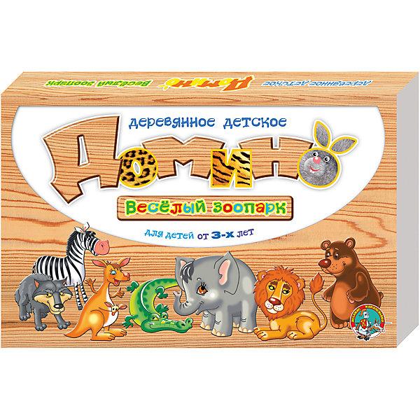 Домино деревянное Веселый зоопаркЛото<br>Деревянное детское домино Веселый зоопарк - увлекательная развивающая игра на основе классических правил. Фишки изготовлены из экологически чистых материалов и безвредны, даже если пробовать их на вкус. Играть можно не только по правилам, а запросто, в перерывах построить пирамидку или змейку, которая побежит по принципу домино, можно изучать животных, геометрические фигуры и счет. Соревновательный принцип игры разовьет у ребенка память и наблюдательность, логическое мышление, способность к анализу ситуации и коллективной игре.<br>Состав: 28 фишек,  размер каждой 30х60х10 мм<br><br>Ширина мм: 255<br>Глубина мм: 170<br>Высота мм: 27<br>Вес г: 415<br>Возраст от месяцев: 420<br>Возраст до месяцев: 2147483647<br>Пол: Унисекс<br>Возраст: Детский<br>SKU: 7245644