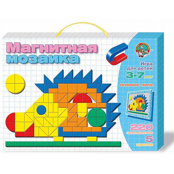 Мозаика магнитная Ежик 220 элМозаика<br>Характеристики:<br><br>• возраст: 5+;<br>• материал: картон, магнит;<br>• размер упаковки: 36,4x26,3x3,4 см;<br>• масса: 480 г.<br><br>Набор мягких магнитных деталей четырех цветов состоит из 220 элементов разнообразных геометрических форм и магнитной доски с разметкой поля.<br><br>Расставляя детали на магнитной доске, можно использовать предложенные на обороте коробки схемы. Собирая плоский конструктор, ребенок будет развивать художественное воображение и творческие навыки, учиться усидчивости, тренировать мелкую моторику рук.<br><br>Мозаика магнитная «Ежик», 220 элементов, «Десятое королевство» можно купить в нашем интернет-магазине.<br>Ширина мм: 364; Глубина мм: 263; Высота мм: 34; Вес г: 480; Возраст от месяцев: 684; Возраст до месяцев: 2147483647; Пол: Унисекс; Возраст: Детский; SKU: 7245668;