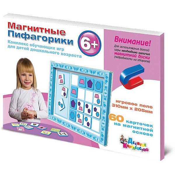 Магнитные Пифагорики 6+ Доп.набор (без магн.доски)Обучающие игры для дошкольников<br>В данной игре детям предлагается изучить последние три цифры, освоить навыки обратного и прямого счета до 9 (здесь вам понадобятся предыдущие два комплекта карточек) и математические действия с числами до 12. Игра познакомит малышей со сложными геометрическими фигурами – трапецией, пятиугольником, шестиугольником и еще тремя цветами. <br>   В процессе обучения объясняется смысл предлогов – «на», «за», «перед». Дети в наглядной форме научатся объединять предметы по цвету или по форме, соотносить их между собой, находить сходства и различия. Игра хорошая подготовка к восприятию школьных знаний, регулярные домашние занятия с «Пифагориками» помогут детям понять и запомнить более сложный материал, например, теорию групп или таблицу умножения. <br>   Наглядная форма подачи информации ориентирована на особенности восприятия малышей, которые легко запомнят уроки, полученные с помощью ярких магнитных карточек. Плюс комплекса в большом количестве вариантов игры, которые можно предложить ребенку, используя как один комплект карточек, так и собрав все 4 набора вместе. «Пифагорики» - отличная игра, развивающая логику, образное мышление, математические и интеллектуальные способности.<br>Ширина мм: 315; Глубина мм: 215; Высота мм: 10; Вес г: 290; Возраст от месяцев: 684; Возраст до месяцев: 2147483647; Пол: Унисекс; Возраст: Детский; SKU: 7245681;