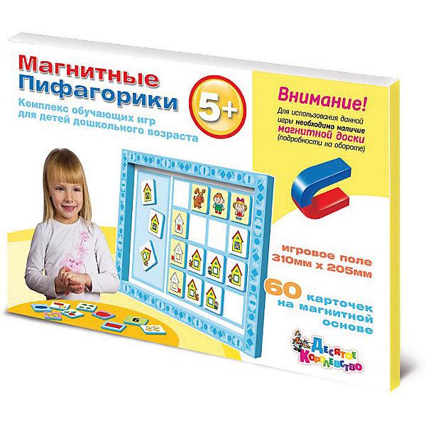Магнитные Пифагорики 5+ Доп.набор (без магн.доски)Обучающие игры для дошкольников<br>Магнитные Пифагорики №3 - третья ступень развивающей игры «Пифагорики» для детей от 5 лет. Дополнительный набор следует покупать только в том случае, если у вас уже имеется какая-либо игра из серии «Пифагорики» с магнитным планшетом.  В увлекательной форме игра поможет ребенку запомнить следующие три цифры – 4, 5, 6 и новые геометрические фигуры – овал и прямоугольник, а также четыре цвета радуги. С помощью магнитных карточек ребенок учится считать до 6, складывать и вычитать в пределах первых 6 цифр и пространственной ориентации – понятиям слева, справа и внутри. Использование нескольких ступеней в игре «Пифагорики» позволит соблюсти последовательность подачи материала, ребенок будет получать знания постепенно, от простого к сложному. Все комплекты игры можно использовать вместе, это усложнит задания и разнообразит варианты игры. Вместе с первыми двумя комплектами на занятии ребенку можно дать представление о теории групп, ассоциациях, соотношении предметов. Игра в первую очередь направлена на развитие логико-математического мышления, памяти, внимания, концентрации и усидчивости. Вся информация подана с учетом особенностей восприятия детьми в первую очередь зрительных образов. Яркие рисунки на карточках помогают детям быстрее усвоить информацию и надолго запомнить ее. Усилить эффект от занятий можно повторяя полученные знания в повседневной жизни – показывая ребенку изученные фигуры, считая, вспоминая, где право и лево.<br><br>Ширина мм: 315<br>Глубина мм: 215<br>Высота мм: 10<br>Вес г: 290<br>Возраст от месяцев: 684<br>Возраст до месяцев: 2147483647<br>Пол: Унисекс<br>Возраст: Детский<br>SKU: 7245682