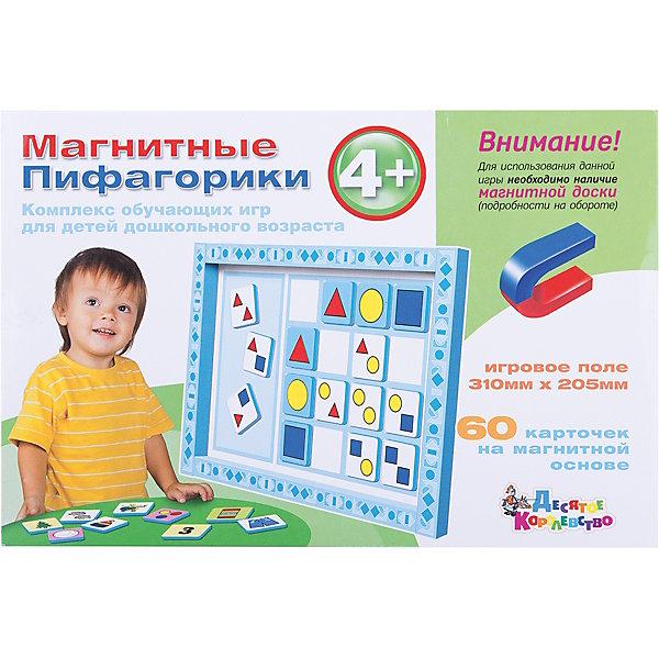 Магнитные Пифагорики 4+ Доп.набор (без магн.доски)Обучающие игры для дошкольников<br>Магнитные Пифагорики №2 - вторая ступень серии игр на развитие математического и логического мышления, предназначенная для детей старше 4 лет. Дополнительный набор отличается от основного арт. 01497 отсутствием магнитной доски. Если у вас уже имеется любая игра из серии «Пифагорики», планшет от нее подойдет к этому дополнительному набору и даст возможность сэкономить на покупке. Если же вы покупаете наши магнитные обучающие наборы впервые, предпочтительнее приобрести полноценную игру «Пифагорики 4+» арт.01497 с магнитной доской. <br>   Набор из 60 магнитных карточек позволяет в наглядной форме преподнести ребенку первые знания о математическом счете, запомнить первые три цифры, основные фигуры и цвета радуги. Игра знакомит детей с понятием «узкий-широкий», учит сравнению предметов. На занятиях ребенок научится соотносить цифру с соответствующим количеством предметов. <br>   В приложенной инструкции вы найдете несколько вариантов игр, которые непременно будут интересны малышу. Если использовать также карточки комплекса «Пифагорики №1» можно разнообразить занятие играми на ассоциации, научить ребенка находить сходства и отличия предметов, распределять их по группам. Карточки имеют магнитную основу, поэтому во время игры поле можно ставить вертикально, а фигуры двигать и менять местами. Передвигая их, ребенок запоминает материал в динамике и учится самостоятельно подбирать подходящие элементы. При сортировке карточек для каждой игры вы можете класть их в левой части игрового поля в голубое окошко.<br>Ширина мм: 315; Глубина мм: 215; Высота мм: 10; Вес г: 290; Возраст от месяцев: 684; Возраст до месяцев: 2147483647; Пол: Унисекс; Возраст: Детский; SKU: 7245683;