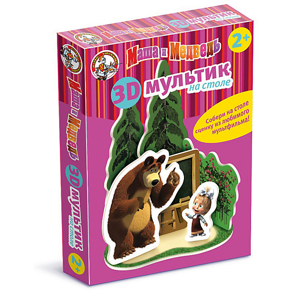 Мультик на столе 3D Маша и Медведь /Школа (мягк.)Обучающие игры для дошкольников<br>Характеристики:<br><br>• возраст: 3+;<br>• размер упаковки: 27,5x20x4 см;<br>• масса: 180 г.<br><br>3D пазл из семи фрагментов предназначен для малышей от 3-х лет. Захватывающее занятие очень понравится малышам, а конечным его результатом станут настоящие герои из любимого сериала. <br><br>Дети смогут играть с созданными своими руками игрушками - Машей и Медведем. Проявив фантазию, можно разыграть настоящий спектакль на столе.<br><br>Игра развивает воображение, воспитывает усидчивость, формирует пространственное воображение и хорошо разрабатывает мелкую моторику.<br><br>Мультик на столе 3D Маша и Медведь «Школа», «Десятое королевство» можно купить в нашем интернет-магазине.<br><br>Ширина мм: 275<br>Глубина мм: 200<br>Высота мм: 40<br>Вес г: 180<br>Возраст от месяцев: 684<br>Возраст до месяцев: 2147483647<br>Пол: Унисекс<br>Возраст: Детский<br>SKU: 7245696