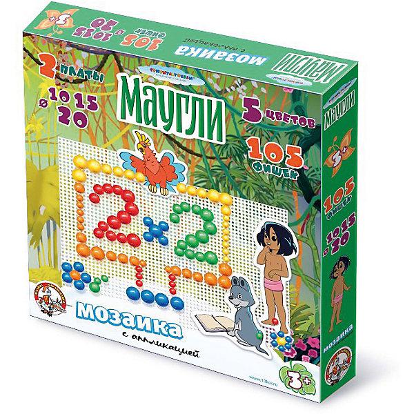 Мозаика с аппликацией Маугли d10, d15, d20/105 эл/2 поля (Союзмультфильм)Мозаика<br>Мозаика с аппликацией «Маугли» помогает ребенку развивать фантазию и творческие навыки, учиться усидчивости и развивает мелкую моторику рук. Для создания готовых сюжетов можно воспользоваться рисунками на упаковке или создайте свои собственные неповторимые произведения.<br>Состав мозаики: <br>- 105 фишек, 5 цветов, 10, 15 и 20 мм <br>- 14 мягких аппликаций <br>- 2 игровых поля (платы) <br>- 2 соединительных элемента<br>Ширина мм: 285; Глубина мм: 280; Высота мм: 40; Вес г: 450; Возраст от месяцев: 420; Возраст до месяцев: 2147483647; Пол: Унисекс; Возраст: Детский; SKU: 7245700;