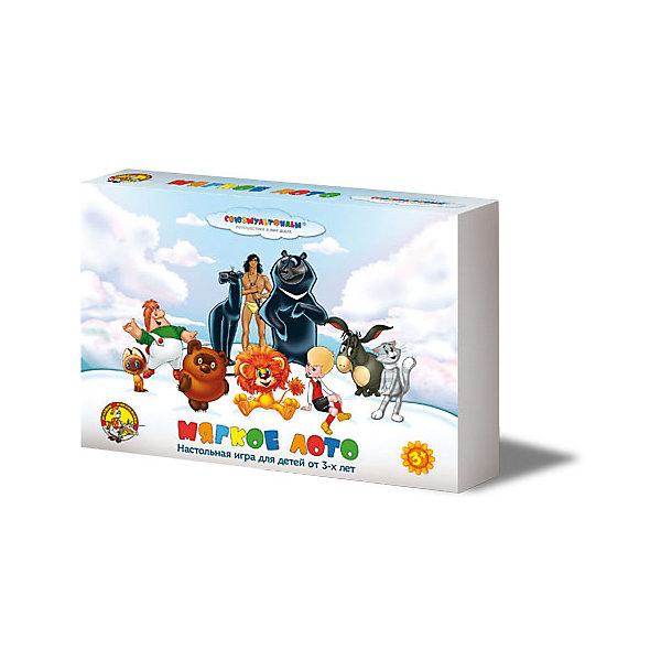 Лото мягкое Союзмультфильм (4 карточки)Лото<br>Лото для детей «Герои Союзмультфильма» позволяет играть не только в лото, но и другие, не менее занимательные и интересные игры. Правила к этим играм находятся внутри коробки, их всего семь. Все игры направлены на развитие внимательности, памяти, навыков общения, речи и  кругозора малыша.<br>Крупные красочные фишки, выполнены из мягкого экологически чистого и безопасного материала, практичны в применении.<br>Персонажи известных мультфильмов делают эту игру понятной, увлекательной и любимой даже для самых маленьких участников.<br>Игры подходят, как для занятий с одним малышом, так и с группой от 2 до 6 детей в возрасте от 3 до 7 лет.<br><br>В состав игры входят:<br>- 6 больших картонных карточек, на которых изображен большой фрагмент из мультфильма и 4 маленьких картинки;<br>- 24 мягких фишек к большим карточкам;<br>- правила игры.<br>Ширина мм: 280; Глубина мм: 195; Высота мм: 45; Вес г: 220; Возраст от месяцев: 684; Возраст до месяцев: 2147483647; Пол: Унисекс; Возраст: Детский; SKU: 7245702;
