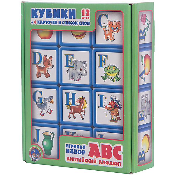 Выдувка. Кубики с бортиком ABC. Английский алфавит 12 эл (5,5 см)Кубики<br>Игровой комплект включает в себя: <br>- 12 кубиков, на гранях которых расположены буквы английского алфавита и картинки, начинающиеся с этих букв<br>- 6 разрезных карточек с шестью подписанными картинками на каждой<br> - карточка с алфавитом<br>- список слов (по числу букв английского алфавита), соответствующих картинкам, находящимся на гранях кубиков<br>- список слов, изображенных на карточках, которые можно составить из данного набора кубиков.<br>Правила игры:<br>Предлагается несколько вариантов игры.<br>1 вариант<br>Сначала следует составлять наиболее простые слова, расположенные на карточке №1, потом на карточке №2 и т.д.<br>Слова на карточках расположены по принципу от простого к сложному.<br> 2 вариант<br>Можно использовать элемент соревнования (кто скорее составит одно, два, три, четыре слова, слова на одной или двух карточках), если в игре принимают два участника и есть два набора кубиков.<br>3 вариант<br>Предлагается составить буквы в алфавитном порядке по карточке-алфавиту. Для этого следует использовать буквы, написанные на оборотной стороне карточек с картинками, предварительно их разрезав.<br>Ширина мм: 210; Глубина мм: 170; Высота мм: 55; Вес г: 320; Возраст от месяцев: 420; Возраст до месяцев: 2147483647; Пол: Унисекс; Возраст: Детский; SKU: 7245751;