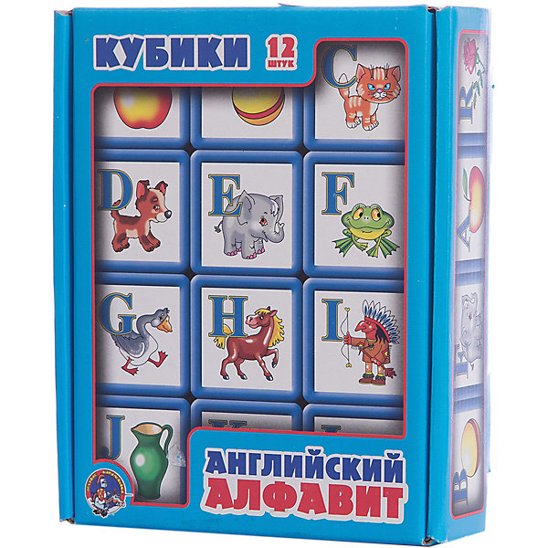 Выдувка. Кубики с бортиком Английский алфавит 12 эл (5,5 см)