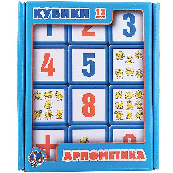 Выдувка. Кубики с бортиком Арифметика 12 эл (5,5 см)Кубики<br>В набор входит 12 кубиков, на которых изображены цифры, математические знаки и цыплята в количестве, соответствующем цифре. Ребята в игровой форме обучатся простейшим арифметическим действиям. <br>Кубики выполнены из выдувной пластмассы, рисунок прочно приклеен. <br>Размер каждого кубика 5х5 см. <br>Самостоятельную игру с кубиками рекомендуем детям трех лет.<br>Ширина мм: 210; Глубина мм: 170; Высота мм: 55; Вес г: 320; Возраст от месяцев: 420; Возраст до месяцев: 2147483647; Пол: Унисекс; Возраст: Детский; SKU: 7245753;