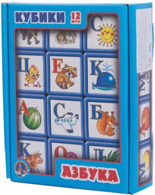 Десятое королевство Выдувка. Кубики с бортиком Азбука 12 эл (5,5 см)