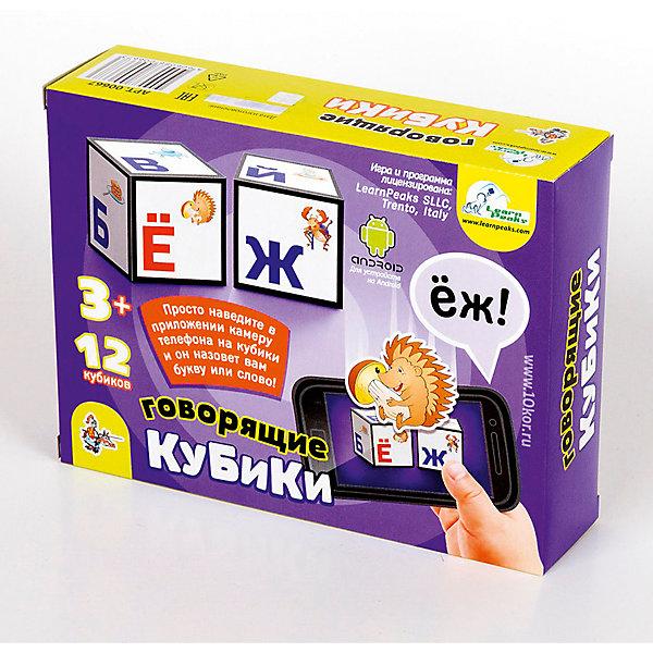Кубики  говорящие Алфавит (без обклейки) 12 штКубики<br>Характеристики:<br><br>• возраст: 3+;<br>• размер кубиков: 4 см; <br>• количество кубиков: 12 шт.;<br>• размер упаковки: 16,6x12,6x4,2 см;<br>• масса: 210 г.<br><br>Детские игровые кубики с рисунками, выполненными методом прямой печати на первичный пищевой полистирол. Яркие кубики не имеют запаха и абсолютно безопасны для малышей.<br><br>Это классическая игра для обучения ребенка алфавиту, разработанная с использованием самых актуальных цифровых технологий. Кубики необычны, ведь их можно использовать синхронизируя со смартфоном или планшетом. Совместив экран устройства с изображением на кубиках, с помощью специального приложения программа считает букву и назовет ее. Умное приложение способно также распознавать составленные ребенком слова.<br><br>Игра развивает наблюдательность, внимание, сообразительность и способность к анализу ситуации.<br><br>Кубики говорящие «Алфавит», 12 шт., (без обклейки), «Десятое королевство» можно купить в нашем интернет-магазине.<br><br>Ширина мм: 166<br>Глубина мм: 126<br>Высота мм: 42<br>Вес г: 210<br>Возраст от месяцев: 420<br>Возраст до месяцев: 2147483647<br>Пол: Унисекс<br>Возраст: Детский<br>SKU: 7245785