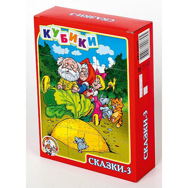 Кубики Сказки-3 (без обклейки) 12 штКубики<br>Набор «Сказки-3» состоит из 12 пластмассовых кубиков картинок размером 4 см.<br>Собрать шесть красочных картинок по мотивам русских народных сказок из двеннадцати кубиков, вполне по силам любому ребенку в возрасте от трех лет. Особенно, если он ранее уже собирал картинки из 4, 6 или 9 кубиков.<br>В результате игровой деятельности малыш прекрасно развивает внимание, память, речь, воображение, расширяет кругозор и словарный запас.<br>Картинки в наборе пластмассовых кубиков «Сказки-3» выполнены по технологии прямой печати (без обклейки), поэтому изображения на кубиках более долговечные, меньше подвержены абразивному износу и еще долго будут радовать малыша сочными и яркими красками.<br><br>Ширина мм: 166<br>Глубина мм: 126<br>Высота мм: 42<br>Вес г: 180<br>Возраст от месяцев: 420<br>Возраст до месяцев: 2147483647<br>Пол: Унисекс<br>Возраст: Детский<br>SKU: 7245792