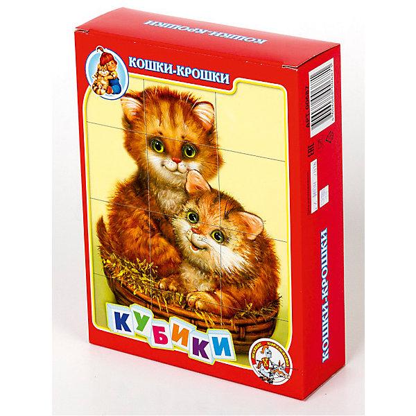 Кубики Кошки-крошки (без обклейки) 12 штКубики<br>Набор «Кошки-крошки» состоит из 12 пластмассовых кубиков картинок размером 4 см.<br>Собрать шесть красочных картинок с изображением милых кошек-крошек из двеннадцати кубиков вполне по силам любому ребенку в возрасте от трех лет. Особенно, если он ранее уже собирал картинки из 4, 6 или 9 кубиков.<br>В результате игровой деятельности малыш прекрасно развивает внимание, память, речь, воображение, расширяет кругозор и словарный запас.<br>Картинки в наборе пластмассовых кубиков «Кошки-крошки» выполнены по технологии прямой печати (без обклейки), поэтому изображения на кубиках более долговечные, меньше подвержены абразивному износу и еще долго будут радовать малыша сочными и яркими красками.<br><br>Ширина мм: 166<br>Глубина мм: 126<br>Высота мм: 42<br>Вес г: 180<br>Возраст от месяцев: 420<br>Возраст до месяцев: 2147483647<br>Пол: Унисекс<br>Возраст: Детский<br>SKU: 7245794