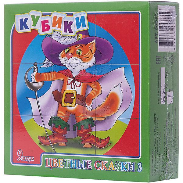 Кубики Цветные сказки-3 (без обклейки) 9 штКубики<br>Набор «Цветные сказки-3» состоит из 9 пластмассовых кубиков картинок размером 4 см.<br>Собрать красочные картинки по мотивам детских сказок - Золотой ключик, Кот в сапогах, Маугли, Красная шапочка, Три поросенка, а также Алиса в стране чудес из девяти кубиков вполне по силам любому ребенку в возрасте от трех лет. Особенно, если он ранее уже собирал картинки из 4 или 6 кубиков.<br>В результате игровой деятельности малыш прекрасно развивает внимание, память, речь, воображение, расширяет кругозор и словарный запас.<br>Картинки в наборе пластмассовых кубиков «Цветные сказки-3» выполнены по технологии прямой печати (без обклейки), поэтому изображения на кубиках более долговечные, меньше подвержены абразивному износу и еще долго будут радовать малыша сочными и яркими красками.<br>Ширина мм: 126; Глубина мм: 126; Высота мм: 42; Вес г: 140; Возраст от месяцев: 420; Возраст до месяцев: 2147483647; Пол: Унисекс; Возраст: Детский; SKU: 7245800;