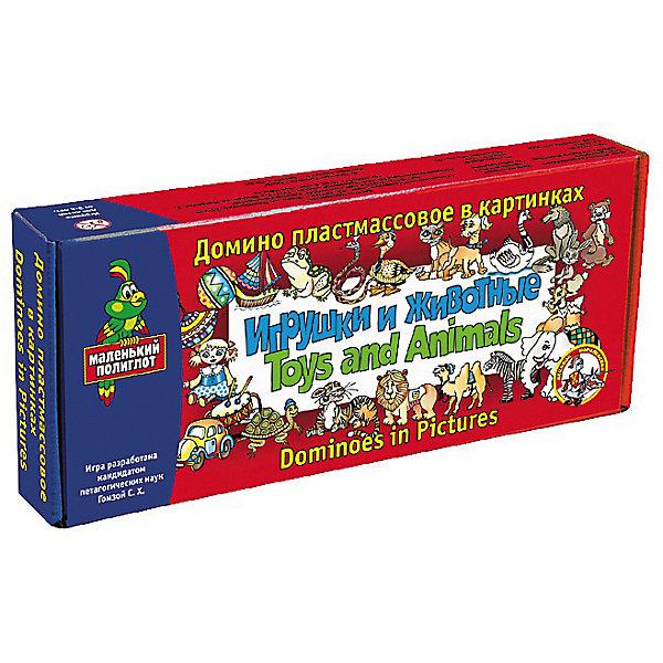 Домино Маленький полиглот. Игрушки и животные (пластм.)Домино<br>Характеристики:<br><br>• возраст: 3+;<br>• размер упаковки: 23,2x10x3,5 см;<br>• масса: 210 г.<br><br>Домино – замечательная обучающая игра, которая может стать полезным подарком для детей. Домино состоит из ярких пластиковых фишек с красочными изображениями. Малыш будет с радостью узнавать предметы и сопоставлять их между собой. <br><br>Для занятий с ребенком английским языком такой набор подойдет лучше всего. При помощи домино можно наглядно заучить с ребенком названия животных и детских игрушек на английском языке, а также начать оперировать во время игрового диалога английскими словами.<br><br>В данном случае используется тематика - игрушки и животные.<br><br>Домино «Маленький полиглот. Игрушки и животные» (пластмассовое), «Десятое королевство» можно купить в нашем интернет-магазине.<br><br>Ширина мм: 232<br>Глубина мм: 100<br>Высота мм: 35<br>Вес г: 210<br>Возраст от месяцев: 84<br>Возраст до месяцев: 2147483647<br>Пол: Унисекс<br>Возраст: Детский<br>SKU: 7245817