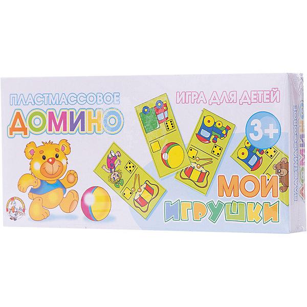 Домино пластмассовое Мои игрушкиДомино<br>Домино пластмассовое Мои игрушки предназначено для занятий с детьми от 3-х лет.  Малыш будет с радостью узнавать любимые игрушки, которые окружают его в повседневной жизни. Яркие и красочные картинки на карточках домино понравятся большинству детей и смогут удержать на себе внимание ребенка длительное время.   В процессе сопоставления количества точек на карточках у малышей в игровой форме закладываются основы счета. А яркие изображения любимых игрушек помогут на уровне образного мышления закрепить полученные навыки.<br>Ширина мм: 200; Глубина мм: 96; Высота мм: 30; Вес г: 160; Возраст от месяцев: 420; Возраст до месяцев: 2147483647; Пол: Унисекс; Возраст: Детский; SKU: 7245824;