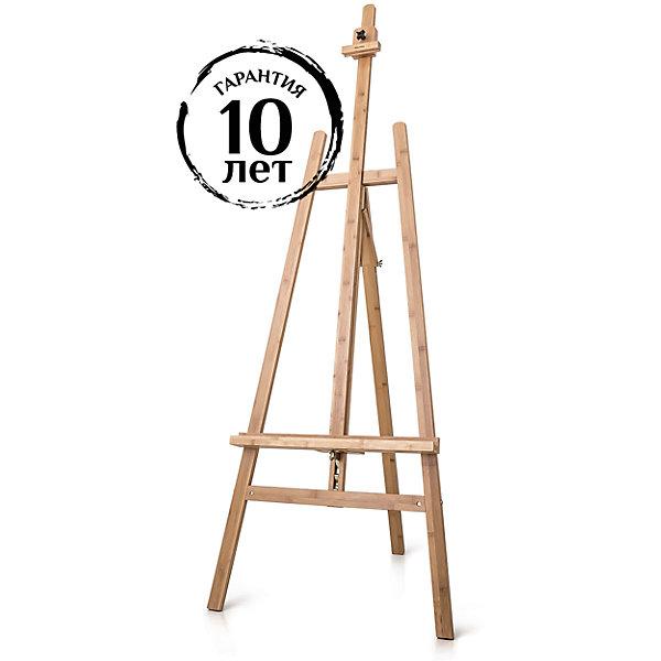 Мольберт Лира МЛ-08Мольберты<br>Мольберт Лира классической конструкции, выполнен из необычного для России материала - бамбука, который имеет очень привлекательный рисунок. Положение нижней полки можно легко менять с помощью специального механизма. Работать можно как сидя, так и стоя. Идеален для работы на холстах среднего размера.<br>Ширина мм: 1420; Глубина мм: 125; Высота мм: 105; Вес г: 4500; Возраст от месяцев: 168; Возраст до месяцев: 2147483647; Пол: Унисекс; Возраст: Детский; SKU: 7250998;