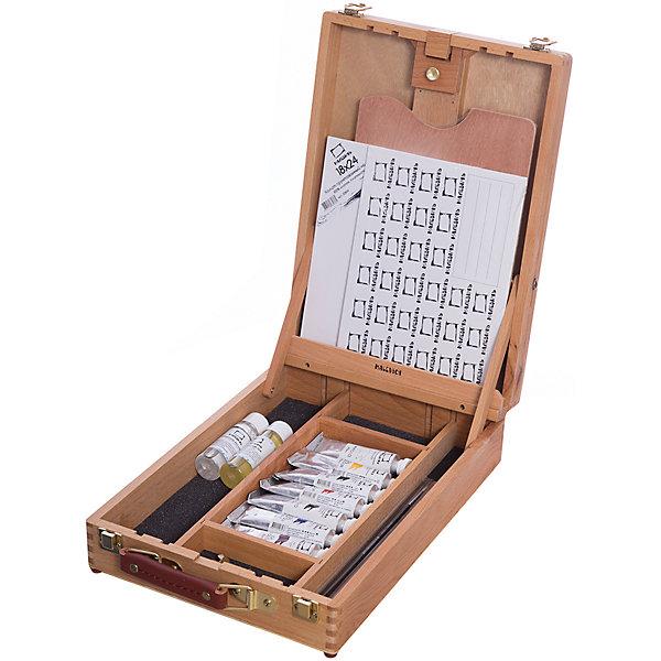 Набор для начинающего художникаХудожественные наборы<br>Характеристики товара: <br><br>• возраст: от 14 лет;<br>• материал: дерево, пластик, картон;<br>• в комплекте: настольный этюдный ящик, даммарный лак (50 мл), разбавитель «Тройник» (50 мл), овальная деревянная палитра 20х30 см, холсты на картоне (25x30 см, 25х35 см), кисть из синтетики «Зима» круглая №2, кисти из синтетики «Зима» плоские №4, 18, масляная краска (7 туб по 40 мл);<br>• размер упаковки: 41х28х10 см;<br>• вес упаковки: 3 кг;<br>• страна производитель: Россия. <br><br>Набор для начинающего художника Малевичъ включает в себя все необходимое для начинающего мастера. Масляные краски изготавливаются из качественных компонентов и натурального льняного масла. Они подойдут для работы даже в неразбавленном виде. <br><br>Набор для начинающего художника Малевичъ можно приобрести в нашем интернет-магазине.<br><br>Ширина мм: 410<br>Глубина мм: 280<br>Высота мм: 10<br>Вес г: 3000<br>Возраст от месяцев: 168<br>Возраст до месяцев: 2147483647<br>Пол: Унисекс<br>Возраст: Детский<br>SKU: 7251000
