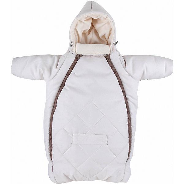 Конверт для новорожденного с рукавами Mammie, кремДетские конверты<br>Исключительно теплый конверт Mammie с капюшоном и рукавами предназначен для прогулки с малышом в коляске, идеальный вариант для выписки в автокресле. Капюшон плотно прилегает к голове благодаря утяжкам. Длинный воротничок стойка надежно защищает шею ребенка, в сильные морозы воротник можно отвернуть и закрыть лицо ребенка до носа. Мягкая подкладка из флиса. Верх выполнен из мягкой эко замши с эффектом «персика» и водоотталкивающей пропиткой. Гипоаллергенный утеплитель файберпласт. Отвороты на ручках заменяют варежки. 2 молнии, благодаря которым конверт глубоко расстегивается, чтобы ребенка было легче одевать и раздевать. Прорези для автомобильных ремней безопасности. Простота в уходе — конверт можно стирать в стиральной машине.<br>Размеры: 70?40 смТемпературный режим:  до -25 градусов<br>Ширина мм: 200; Глубина мм: 300; Высота мм: 50; Вес г: 500; Возраст от месяцев: 0; Возраст до месяцев: 6; Пол: Унисекс; Возраст: Детский; SKU: 7252707;