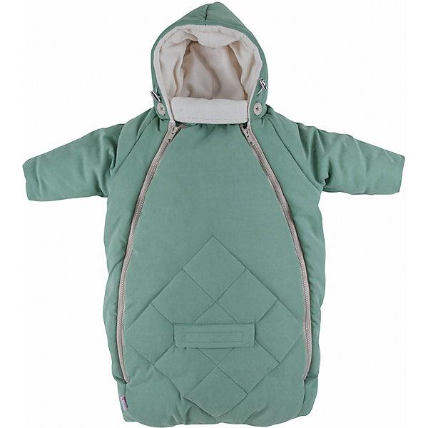 Конверт для новорожденного с рукавами Mammie, мятаДетские конверты<br>Исключительно теплый конверт Mammie с капюшоном и рукавами предназначен для прогулки с малышом в коляске, идеальный вариант для выписки в автокресле. Капюшон плотно прилегает к голове благодаря утяжкам. Длинный воротничок стойка надежно защищает шею ребенка, в сильные морозы воротник можно отвернуть и закрыть лицо ребенка до носа. Мягкая подкладка из флиса. Верх выполнен из мягкой эко замши с эффектом «персика» и водоотталкивающей пропиткой. Гипоаллергенный утеплитель файберпласт. Отвороты на ручках заменяют варежки. 2 молнии, благодаря которым конверт глубоко расстегивается, чтобы ребенка было легче одевать и раздевать. Прорези для автомобильных ремней безопасности. Простота в уходе — конверт можно стирать в стиральной машине.<br>Размеры: 70?40 см<br><br>Ширина мм: 200<br>Глубина мм: 300<br>Высота мм: 50<br>Вес г: 500<br>Возраст от месяцев: 0<br>Возраст до месяцев: 6<br>Пол: Унисекс<br>Возраст: Детский<br>SKU: 7252708