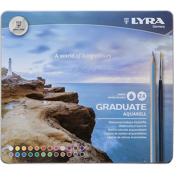 LYRA GRADUATE AQUARELL  24 цв.Письменные принадлежности<br>Характеристики:<br><br>• набор акварельных цветных карандашей, 12 шт.;<br>• тип: гексагональные;<br>• диаметр грифеля 3,3 мм;<br>• материал: сертифицирована древесина;<br>• тип упаковки: металлический пенал;<br>• размер упаковки: 21х1,4х18,6 см;<br>• вес: 315 г.<br><br>Акварельные цветные карандаши для творчества используются для рисования, раскрашивания, оформления работ. Гексагональные цветные карандаши с грифелем диаметром 3,3 мм мягко пишут и рисуют, ровным слоем ложатся на бумагу и картон. Цвета насыщенные и богатые. <br><br>Набор цветных карандашей Lyra Graduate Aquarell, 24 шт. можно купить в нашем интернет-магазине.<br><br>Ширина мм: 210<br>Глубина мм: 14<br>Высота мм: 186<br>Вес г: 315<br>Возраст от месяцев: 36<br>Возраст до месяцев: 2147483647<br>Пол: Унисекс<br>Возраст: Детский<br>SKU: 7252864