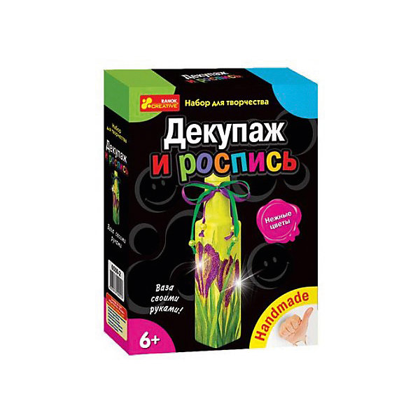 Наборы для творчества Декупаж и роспись Нежные цветыНаборы для росписи<br>Характеристики товара:<br><br>• возраст: от 6 лет;<br>• материал: картон, краски, клей, бумага, стекло, пластик;<br>• размер упаковки: 17х22х5 см.;<br>• упаковка: картонная коробка;<br>• вес в упаковке: 360 гр.;<br>• бренд, страна: Ranok Creative, Украина.<br><br>Набор для творчества «Декупаж и роспись «Нежные цветы» от бренда Ranok Creative - поможет ребенку без труда овладеть техникой декупажа и сделать из обыкновенной бутылки замечательную вазу. <br><br>В комплекте: стеклянная бутылочка, салфетка для декупажа, стразы, акриловые краски, блестки, кисточка, клей ПВА, шнур или ленты, бусинки, подробная инструкция.<br><br>Сделанная своими руками вазу можно использовать в качестве декора интерьера или подарить близким и знакомым. Декупаж — популярный и увлекательный вид творчества, который дает возможность создавать настоящие шедевры из обычных вещей! <br><br>Рекомендуемый возраст: от 6 лет, под наблюдением взрослых.<br><br>Набор для творчества  «Декупаж и роспись «Нежные цветы», ваза, Ranok Creative можно купить в нашем интернет-магазине.<br>Ширина мм: 70; Глубина мм: 50; Высота мм: 220; Вес г: 360; Возраст от месяцев: 72; Возраст до месяцев: 180; Пол: Унисекс; Возраст: Детский; SKU: 7252907;