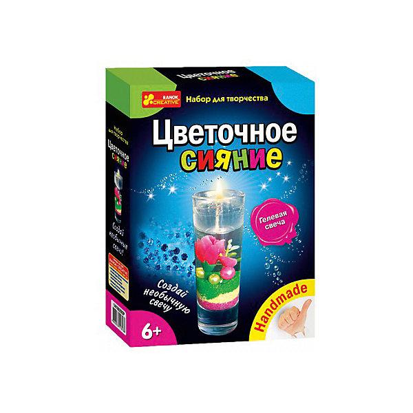 Набор для творчества «Цветочное сияние»Наборы для создания свечей<br>Характеристики товара:<br><br>• возраст: от 6 лет;<br>• материал:  стекло, пластик, гель;<br>• размер упаковки: 17х22х5 см.;<br>• упаковка: картонная коробка;<br>• вес в упаковке: 225 гр.;<br>• бренд, страна: Ranok Creative, Украина.<br><br>Набор для творчества «Цветочное сияние» от бренда Ranok Creative поможет ребенку создать гелевую свечку, и приобрести стильный аксессуар, который будет украшать любую комнату. <br><br>Свеча получится прозрачной, а внутри нее на разноцветном блестящем песке будут покоиться нежные цветы и миниатюрные бусинки. Как и в обычной свече, внутри здесь имеется фитиль. При желании можно зажечь свечу, но гораздо лучше сохранить ее в первозданном виде, чтобы иметь возможность любоваться результатом своей работы.<br><br>В комплекте: стаканчик, гель, фитиль, шприц, ложечка, крышка-заглушка, разноцветные бусинки, цветной песок, искусственный цветок, инструкция. <br><br>Рекомендуемый возраст: от 6 лет, под наблюдением взрослых.<br><br>Набор для творчества «Цветочное сияние», Ranok Creative можно купить в нашем интернет-магазине.<br>Ширина мм: 70; Глубина мм: 50; Высота мм: 220; Вес г: 230; Возраст от месяцев: 72; Возраст до месяцев: 180; Пол: Унисекс; Возраст: Детский; SKU: 7252909;