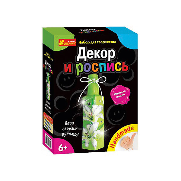 Набор для творчества «Нежные лилии»Наборы для росписи<br>Характеристики товара:<br><br>• возраст: от 6 лет;<br>• материал: картон, краски, клей, бумага, стекло, пластик;<br>• размер упаковки: 17х22х5 см.;<br>• упаковка: картонная коробка;<br>• вес в упаковке: 360 гр.;<br>• бренд, страна: Ranok Creative, Украина.<br><br>Набор для творчества «Декупаж и роспись «Нежные лилии» от бренда Ranok Creative - поможет ребенку без труда овладеть техникой декупажа и сделать из обыкновенной бутылки замечательную вазу. <br><br>В комплекте: стеклянная бутылочка, салфетка для декупажа, стразы, акриловые краски, блестки, кисточка, клей ПВА, шнур или ленты, бусинки, подробная инструкция.<br><br>Сделанная своими руками вазу можно использовать в качестве декора интерьера или подарить близким и знакомым. Декупаж — популярный и увлекательный вид творчества, который дает возможность создавать настоящие шедевры из обычных вещей! <br><br>Рекомендуемый возраст: от 6 лет, под наблюдением взрослых.<br><br>Набор для творчества  «Декупаж и роспись «Нежные лилии», ваза, Ranok Creative можно купить в нашем интернет-магазине.<br>Ширина мм: 70; Глубина мм: 50; Высота мм: 220; Вес г: 350; Возраст от месяцев: 72; Возраст до месяцев: 180; Пол: Унисекс; Возраст: Детский; SKU: 7252912;