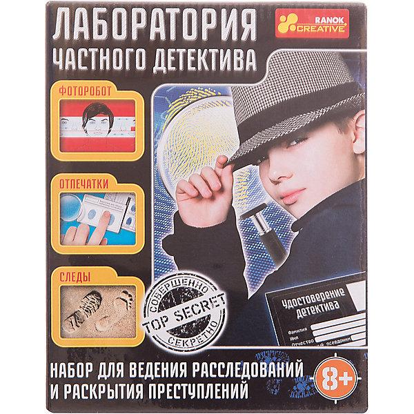 Набор для экспериментов «Лаборатория частного детектива»Химия и физика<br>Характеристики товара:<br><br>• возраст: от 8 лет;<br>• материал: пластик, бумага, картон;<br>• размер упаковки: 17х22х5 см.;<br>• упаковка: картонная коробка;<br>• вес в упаковке: 170 гр.;<br>• бренд, страна: Ranok Creative, Украина.<br><br>Набор для экспериментов «Лаборатория эчастного детектива» -незаменимый подарок для начинающего сыщика и его помощников. Теперь ловить преступников станет еще проще, ведь у детей будет для этого все необходимое. Они смогут искать с помощью лупы мельчайшие улики, брать отпечатки пальцев и сравнивать их с образцами, хранящимися в базе, составлять с помощью заготовок лиц, глаз и усов фотороботы, искать ответы на сложные вопросы в справочнике.<br><br>Друзья придумают множество интригующих игровых сценариев и примерят на себя разные роли. А чтобы расследования гарантированно увенчались успехом и детективу открывались любые двери, важно не забыть вписать в удостоверение, входящее в набор, свои инициалы.<br><br>Набор содержит: подушка, карточка для сбора отпечатков, карточка отпечатков, кисточка, удостоверение, лупа, фотографии преступников, заготовки с изображением губ, бород, усов, формы лица, глаз, носов, папка для составления фоторобота, справочник частного детектива.<br><br>Рекомендуемый возраст: от 8 лет, под наблюдением взрослых.<br><br>Набор для экспериментов «Лаборатория частного детектива», Ranok Creative можно купить в нашем интернет-магазине.<br>Ширина мм: 170; Глубина мм: 50; Высота мм: 220; Вес г: 170; Возраст от месяцев: 96; Возраст до месяцев: 192; Пол: Унисекс; Возраст: Детский; SKU: 7252928;