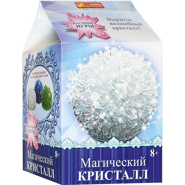 Набор для опытов Магический кристалл БелыйВыращивание кристаллов<br>Характеристики товара:<br><br>• возраст: от 8 лет;<br>• материал:  гипс, пластик, бумага;<br>• размер упаковки: 22х17х5 см.;<br>• упаковка: картонная коробка;<br>• вес в упаковке: 215 гр.;<br>• бренд, страна: Ranok Creative, Украина.<br><br>Набор для опытов «Магический кристалл Белый» от бренда Ranok Creative включает все необходимые компоненты для того, чтобы в домашних условиях за несколько дней вырастить красивый кристалл белого цвета. <br><br>Кристаллы растут сами по себе, вам необходимо лишь смешать раствор точно по инструкции, добавив все необходимые ингредиенты. Скоро из них вырастут большие и разнообразные по форме камни, которые смогут украсить ваш дом не хуже цветов!  <br><br>В наборе прозрачная пластиковая коробочка, в которой кристалл можно подарить близкому человеку, а можно поставить его на полочку и любоваться.<br><br>Набор для опытов - это увлекательное занятие, которое может стать первым шагом ребенка на пути изучения естественных наук.<br><br>Рекомендуемый возраст: от 8 лет, под наблюдением взрослых.<br><br>Набор для опытов «Магический кристалл Белый», Ranok Creative можно купить в нашем интернет-магазине.<br><br>Ширина мм: 170<br>Глубина мм: 50<br>Высота мм: 220<br>Вес г: 215<br>Возраст от месяцев: 96<br>Возраст до месяцев: 192<br>Пол: Унисекс<br>Возраст: Детский<br>SKU: 7252932