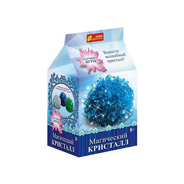 Набор для опытов Магический кристалл СинийВыращивание кристаллов<br>Характеристики товара:<br><br>• возраст: от 8 лет;<br>• материал: гипс, пластик, бумага;<br>• размер упаковки: 22х17х5 см.;<br>• упаковка: картонная коробка;<br>• вес в упаковке: 215 гр.;<br>• бренд, страна: Ranok Creative, Украина.<br><br>Набор для опытов «Магический кристалл Синий» от бренда Ranok Creative включает все необходимые компоненты для того, чтобы в домашних условиях за несколько дней вырастить красивый кристалл синего цвета. <br><br>Кристаллы растут сами по себе, вам необходимо лишь смешать раствор точно по инструкции, добавив все необходимые ингредиенты. Скоро из них вырастут большие и разнообразные по форме камни, которые смогут украсить ваш дом не хуже цветов!  <br><br>В наборе прозрачная пластиковая коробочка, в которой кристалл можно подарить близкому человеку, а можно поставить его на полочку и любоваться.<br><br>Набор для опытов - это увлекательное занятие, которое может стать первым шагом ребенка на пути изучения естественных наук.<br><br>Рекомендуемый возраст: от 8 лет, под наблюдением взрослых.<br><br>Набор для опытов «Магический кристалл Синий», Ranok Creative можно купить в нашем интернет-магазине.<br><br>Ширина мм: 170<br>Глубина мм: 50<br>Высота мм: 220<br>Вес г: 200<br>Возраст от месяцев: 96<br>Возраст до месяцев: 192<br>Пол: Унисекс<br>Возраст: Детский<br>SKU: 7252933