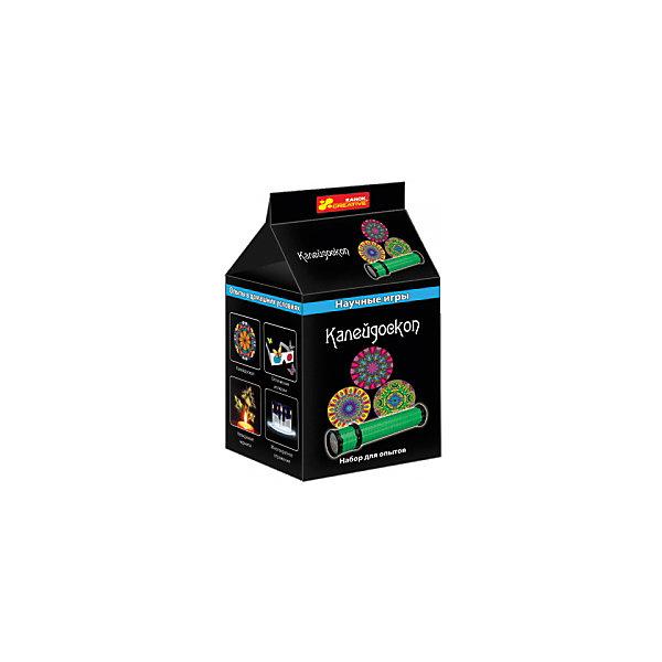 Научные игры «Калейдоскоп»Химия и физика<br>Характеристики товара:<br><br>• возраст: от 8 лет;<br>• материал:  картон, стекло, пластик, резина, фольга;<br>• размер упаковки: 10х8х8 см.;<br>• упаковка: картонная коробка;<br>• вес в упаковке: 80 гр.;<br>• бренд, страна: Ranok Creative, Украина.<br><br>Набор для опытов «Калейдоскоп» от бренда Ranok Creative  поможет заинтересовать ребенка и привлечь его к изучению физики в интересной игровой форме.<br><br>В комплект входит все, что необходимо, чтобы сделать калейдоскоп совими руками: картонная трубка, зеркала, бисер, фольга и скотч. Перед ребенком стоит очень увлекательная задача: расположить все составляющие так, чтобы получился самый настоящий калейдоскоп.<br><br>Готовая игрушка наверняка станет для ребенка одной из самых любимых: он будет гордиться проделанной работой, а собственноручно изготовленный калейдоскоп приобретет в его глазах еще большую ценность.<br><br>Рекомендуемый возраст: от 8 лет, под наблюдением взрослых.<br><br>Набор для опытов «Калейдоскоп», Ranok Creative можно купить в нашем интернет-магазине.<br><br>Ширина мм: 80<br>Глубина мм: 80<br>Высота мм: 100<br>Вес г: 80<br>Возраст от месяцев: 120<br>Возраст до месяцев: 192<br>Пол: Унисекс<br>Возраст: Детский<br>SKU: 7252934
