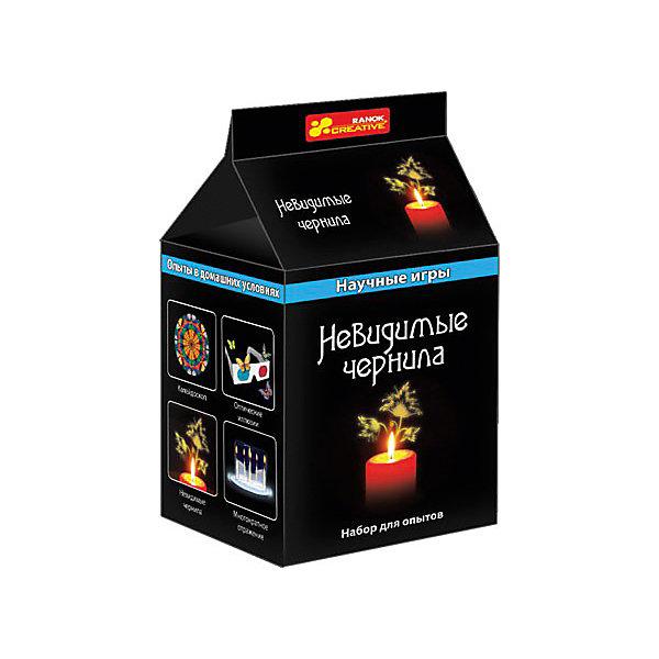 Научные игры «Невидимые чернила»Химия и физика<br>Характеристики товара:<br><br>• возраст: от 10 лет;<br>• материал: воск, дерево;<br>• размер упаковки: 10х8х8 см.;<br>• упаковка: картонная коробка;<br>• вес в упаковке: 60 гр.;<br>• бренд, страна: Ranok Creative, Украина.<br><br>Набор для опытов «Невидимые чернила» от бренда Ranok Creative  поможет заинтересовать ребенка и привлечь его к изучению химии в интересной игровой форме.<br><br>В комплекте можно найти баночку с раствором серной кислоты, большую свечу и деревянную палочку с инструкцией. Благодаря данному набору, ребенок может самостоятельно провести испытания этого удивительного раствора и убедиться в чудесах химии.<br><br>Рекомендуемый возраст: от 10 лет, под наблюдением взрослых.<br><br>Набор для опытов «Невидимые чернила», Ranok Creative можно купить в нашем интернет-магазине.<br><br>Ширина мм: 80<br>Глубина мм: 80<br>Высота мм: 100<br>Вес г: 60<br>Возраст от месяцев: 120<br>Возраст до месяцев: 192<br>Пол: Унисекс<br>Возраст: Детский<br>SKU: 7252937