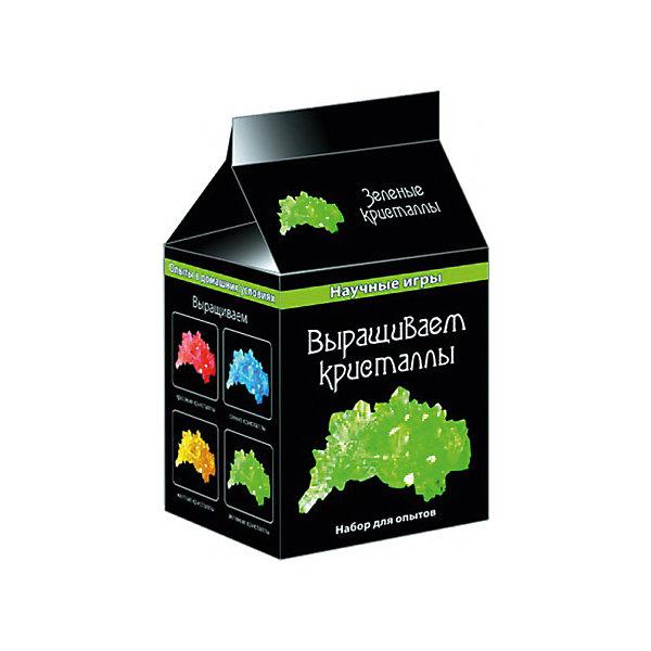 Научные игры «Выращиваем кристаллы»Выращивание кристаллов<br>Характеристики товара:<br><br>• возраст: от 8 лет;<br>• цвет кристалла: зеленый;<br>• материал:  пластик, шерсть, бумага;<br>• размер упаковки: 10х8х8 см.;<br>• упаковка: картонная коробка;<br>• вес в упаковке: 70 гр.;<br>• бренд, страна: Ranok Creative, Украина.<br><br>Набор для опытов «Выращиваем кристаллы» от бренда Ranok Creative позволит вашему ребенку самостоятельно провести эксперимент по выращиванию цветного кристалла. <br><br>В наборе есть все необходимое - тара, мешатели, салфетки, грунт и, конечно, окрашенное вещество для создания насыщенного раствора. <br><br>Такой набор способствует расширению кругозора детей, развитию интереса к науке и природным явлениям, а также отлично отвлекают от телевизора и интернета!<br><br>Рекомендуемый возраст: от 8 лет, под наблюдением взрослых.<br><br>Набор для опытов «Выращиваем кристаллы», цвет - зеленый, Ranok Creative можно купить в нашем интернет-магазине.<br>Ширина мм: 80; Глубина мм: 80; Высота мм: 100; Вес г: 75; Возраст от месяцев: 96; Возраст до месяцев: 192; Пол: Унисекс; Возраст: Детский; SKU: 7252940;