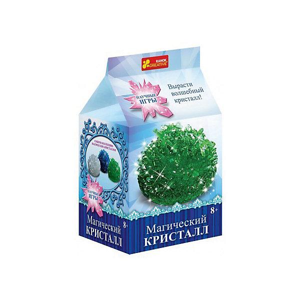 Научные игры «Магический кристалл»Выращивание кристаллов<br>Характеристики товара:<br><br>• возраст: от 8 лет;<br>• материал: гипс, пластик, бумага;<br>• размер упаковки: 22х17х5 см.;<br>• упаковка: картонная коробка;<br>• вес в упаковке: 215 гр.;<br>• бренд, страна: Ranok Creative, Украина.<br><br>Набор для опытов «Магический кристалл Зеленый» от бренда Ranok Creative включает все необходимые компоненты для того, чтобы в домашних условиях за несколько дней вырастить красивый кристалл зеленого цвета. <br><br>Кристаллы растут сами по себе, вам необходимо лишь смешать раствор точно по инструкции, добавив все необходимые ингредиенты. Скоро из них вырастут большие и разнообразные по форме камни, которые смогут украсить ваш дом не хуже цветов!  <br><br>В наборе прозрачная пластиковая коробочка, в которой кристалл можно подарить близкому человеку, а можно поставить его на полочку и любоваться.<br><br>Набор для опытов - это увлекательное занятие, которое может стать первым шагом ребенка на пути изучения естественных наук.<br><br>Рекомендуемый возраст: от 8 лет, под наблюдением взрослых.<br><br>Набор для опытов «Магический кристалл Зеленый», Ranok Creative можно купить в нашем интернет-магазине.<br><br>Ширина мм: 170<br>Глубина мм: 50<br>Высота мм: 220<br>Вес г: 195<br>Возраст от месяцев: 96<br>Возраст до месяцев: 192<br>Пол: Унисекс<br>Возраст: Детский<br>SKU: 7252942