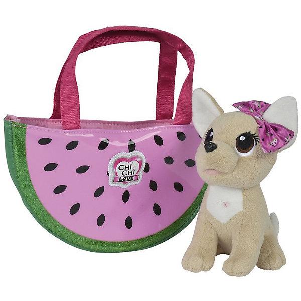 Мягкая игрушка Simba Chi-Chi love Фруктовая мода Собачка в сумочке, 18 смМягкие игрушки животные<br>Характеристики:<br><br>• возраст: от 9 лет<br>• комплектация: плюшевая собачка с бантиком, сумочка для собачки<br>• размер собачки: 18 см.<br>• материал: текстиль, наполнитель, пластик<br>• упаковка: картонная коробка открытого типа<br>• размер упаковки: 24х13х24 см.<br>• вес: 300 гр.<br><br>Плюшевая собачка «Chi-Chi love» приведет в восторг любую девочку, мечтающую завести для себя маленького питомца. У собачки светло-коричневая шерстка, торчащие ушки и большие глаза с пушистыми ресничками. На голове у нее красуется бантик. <br><br>В комплекте имеется сумочка, в которой девочка сможет брать своего питомца на прогулки или в гости к друзьям. Модная сумочка с удобными длинными ручками выполнена в виде арбузной дольки. Она изготовлена из плотной ткани и тщательно прошита.<br><br>Игрушка изготовлена из качественных материалов, безопасных для детей.<br><br>Плюшевую собачку Chi-Chi love Фруктовая мода, с сумочкой можно купить в нашем интернет-магазине.<br>Ширина мм: 240; Глубина мм: 130; Высота мм: 240; Вес г: 300; Возраст от месяцев: 60; Возраст до месяцев: 108; Пол: Женский; Возраст: Детский; SKU: 7263994;