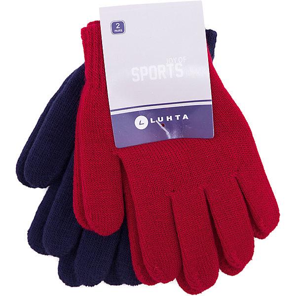 Перчатки Luhta для девочкиПерчатки, варежки<br>Характеристики товара:<br><br>• цвет: красный<br>• комплектация: 2 пары<br>• состав ткани: 95% акрил, 5% эластан<br>• сезон: демисезон<br>• страна бренда: Финляндия<br>• страна изготовитель: Китай<br><br>В этом комплекте - две пары однотонных трикотажных перчаток для детей. Теплые детские перчатки выполнены в модном универсальном цвете. Эти вязаные перчатки для девочки снабжены мягкой резинкой. <br><br>Перчатки Luhta (Лухта) для девочки можно купить в нашем интернет-магазине.<br><br>Ширина мм: 162<br>Глубина мм: 171<br>Высота мм: 55<br>Вес г: 119<br>Цвет: красный<br>Возраст от месяцев: 84<br>Возраст до месяцев: 1188<br>Пол: Женский<br>Возраст: Детский<br>Размер: one size<br>SKU: 7264135